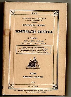 Maritime Instructions Nautiques 1929 Mediterranee Orientale Lybie Egypte Syrie