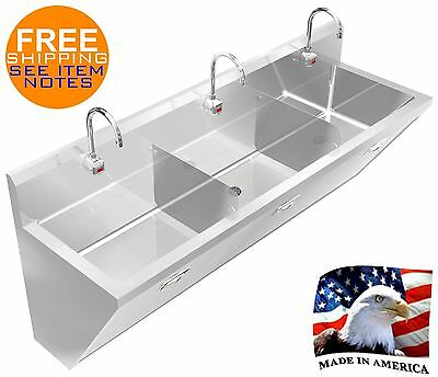 """Surgeon's Wash Up Hand Sink 3 Station 72"""" With Electronic Faucet Made In America"""