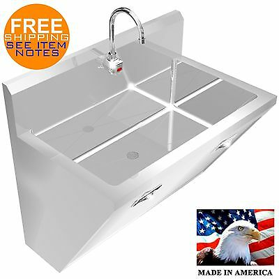 "Surgeon's Hand Sink 1 Station 36"" Hd Stainless Steel #304 Hands Free Made In Usa"