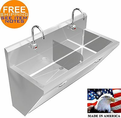 "Surgeon's Hand Sink 2 Station 60"" Hd Stainless Steel #304 Hands Free Made In Usa"