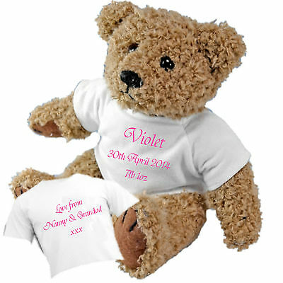 New Baby Teddy Bear - Personalised with Baby's Name, Date of Birth & Weight