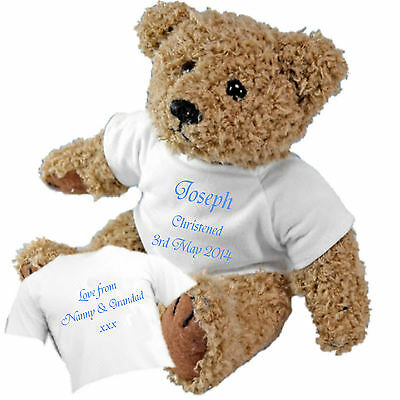 Christening Baptism Naming Ceremony Teddy Bear - Personalised with Name & Date