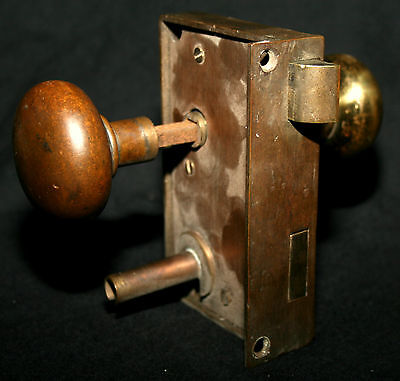 Solid brass mortise lock & knobs, two heavy solid brass mis-match knob