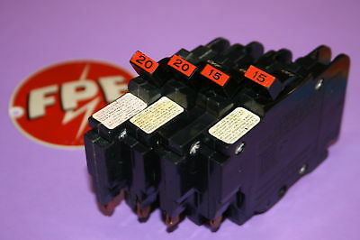 4 Federal Pacific 2-20 & 2-15  Amp Nc Breakers