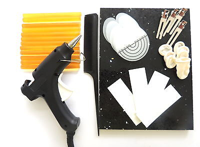 HAIR EXTENSIONS GLUE GUN KIT 12 GLUE STICKS with step by step guide