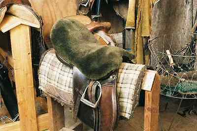 Brown ENGLISH Sheepskin Saddle Seat Cover All Purpose Dressage Engel Horse Tack