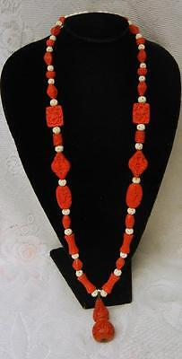 Antique Large Art Deco Chinese Carved Cinnabar Bird Flowers Necklace 19C