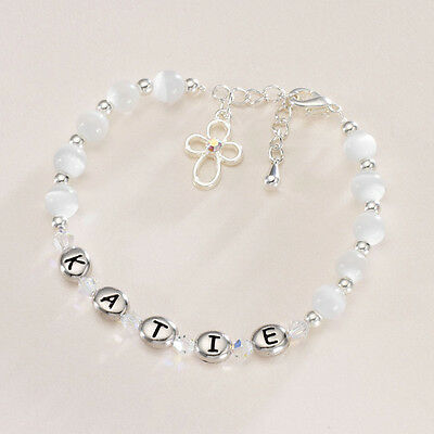 Personalised First Holy Communion Bracelet Baby Girls Christening Gift Jewellery