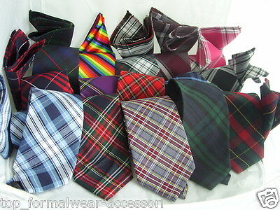 "Any  Mens TARTAN Ties - Necktie 3.5"" = 9cm Width-With OR Without Matching Hankie"