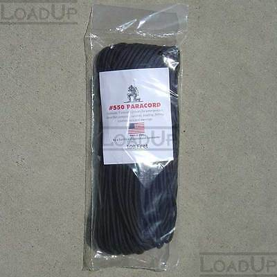 550 PARACORD Military Survival Cord BLACK 1ft, 5ft or 50ft 7 Strand TypeIII