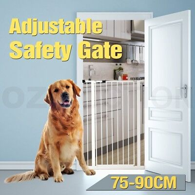 75-90cm Extendable Metal Baby Dog Pet Safety Security Gate Stair Door Barrier