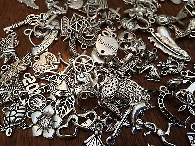 50 PiEcE LoT ~ SiLvER ChArMs PeNdAnTs MiXeD THeMe JeWeLRy MaKiNg GRaB BaG STyLe