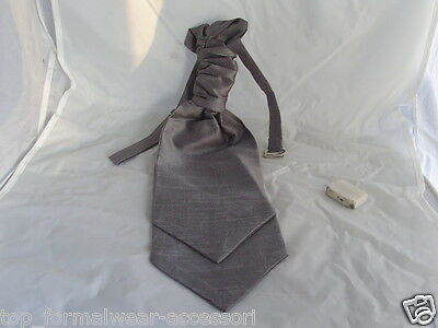 (GG) Pewter (Dark Silver Grey) MENS Ruche CRAVAT-Tie-The More U Buy>>More U Save