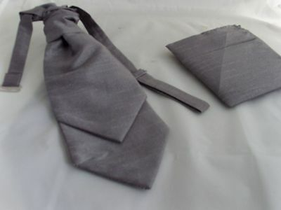 MENS Pewter (Dark Silver Grey) Ruche Cravat & Hankie Set> More U Buy>More U Save