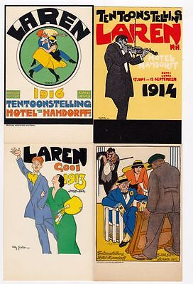 WILLY SLUITER Art Deco 5 Vintage Postcards Exhibition Laren 1913-1917, RARE!