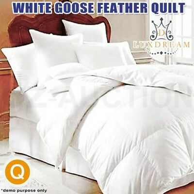 Soft Goose Feather Bed Quilt Doona Duvet Topper Queen Blanket Winter Size White