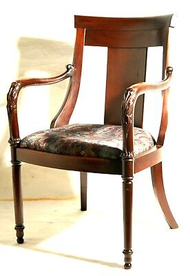 "Arm chair, Classical Revival, Empire, carved arm, mahogany, 38"" t, 19th century"