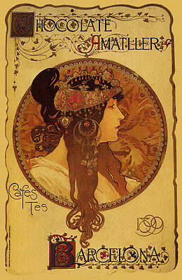 POSTER CHOCOLATE AMATLLER BARCELONA 1913 STREET CHEF COOK VINTAGE REPRO FREE S//H