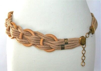 S - 70s hessian rope and wood vintage belt