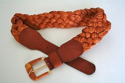 80's raffia fabric & leather plaited vintage belt
