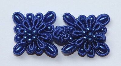 6 pairs blue bead square Chinese Frogs Closure buttons handmade sewing