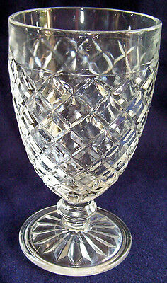 HOCKING GLASS WATERFORD or WAFFLE CRYSTAL FOOTED WATER GOBLET!