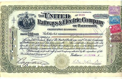 United Railways & Electric Company of Baltimore Stock Certificate Railroad MD