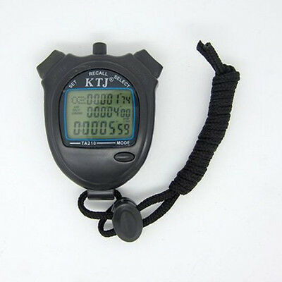 Chronograph Digital Timer Professional Sports Stopwatch Stop Watch Counter Black