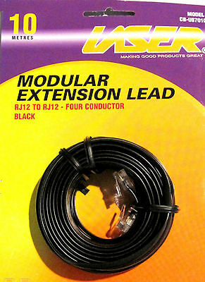 10m Telephone Modular extension Lead Cable 6P4C RJ12  ~~ Four Conductor