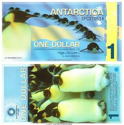 Antarctica 1 Dollar 2011 Polymer Perfect Mint UNC Uncirculated Banknotes