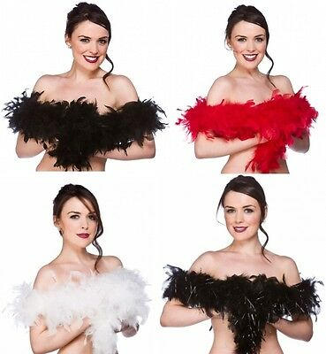 Black Red White 1920s Flapper Feather Boa 20s Fancy Dress Costume Accessory