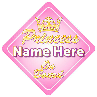 Gold Princess On Board Car Window Sign with Crown Baby/Child Gift Girl Beautiful
