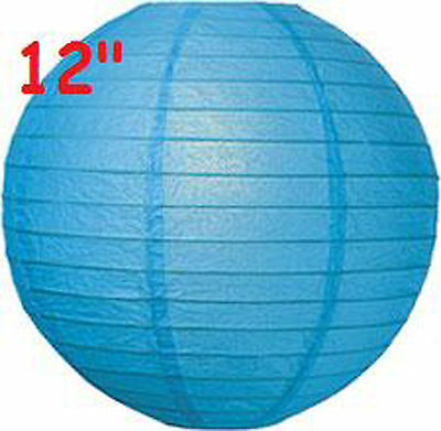 """6 Blue 12"""" Paper Chinese Lantern Lamp Shade Wedding Party Decoration Supplies"""