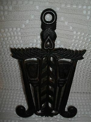 Antique Vintage Heavy Cast Iron Trivet~ Ornate Metal~Wilton Pattern~Signed