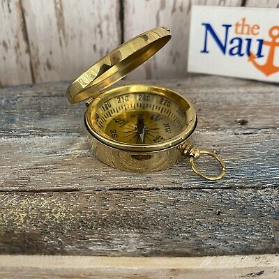 Brass Compass w/ Lid - Necklace Pendant - Old Vintage Antique Pocket Style