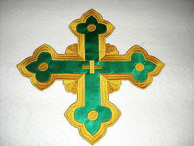 "New large Gold Cross with Green back Ground for vestment  9"" patch-Free Shipping"