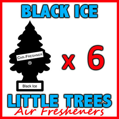 6 x BLACK ICE LITTLE TREES AIR FRESHENERS Freshener Scent Car Taxi Truck Uber