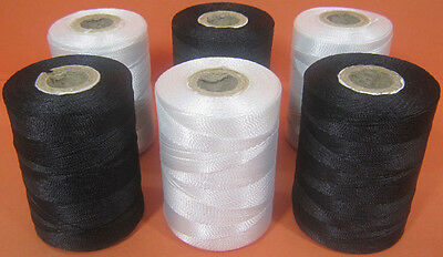 3 Black & 3 White Nylon Sewing Thread Spools *Large 200meters Heavy Duty Spools