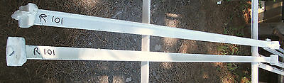 Two Antique # R101 Very Unique Fastener Pin Type White Painted Iron Bed Rails