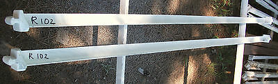 Two Antique # R102 Very Odd Unique Fastener Type White Painted Iron Bed Rails