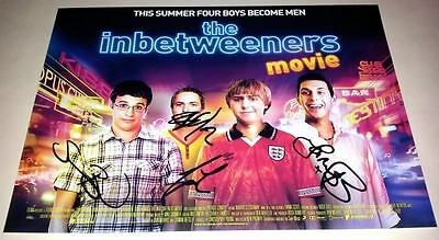 "The Inbetweeners Movie Pp Cast X4 Signed 12""x8"" Poster Simon Bird"