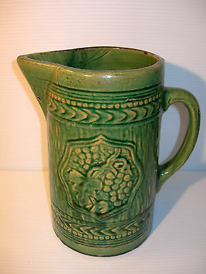 "~ VINTAGE McCOY GREEN 8 1/2"" POTTERY PITCHER 1920'S VINTAGE McCOY ART POTTERY~"