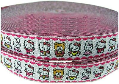 Hello Kitty Pals White Red Edge Jacquard Ribbon Fabric Bunny Sew On Applique Bow