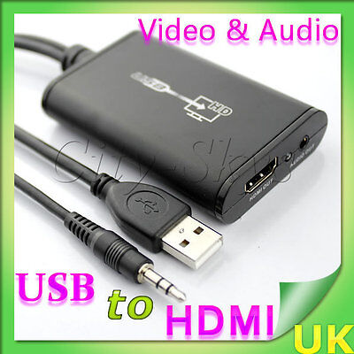 1080P USB 2.0 PC to HDMI Graphics Converter with Audio + 3.5mm Jack Cable HDTV