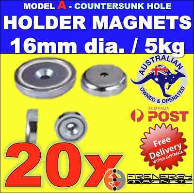 20 X Magnetic Countersunk Pot Holders 16mm dia. 5 kg hold capacity