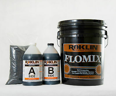 Roklin's FloMix Asphalt Repair, 5-Gal Kit, Asphalt Pothole Patch Repair