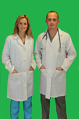 Medical Doctor Unisex Men Women Lab Coats Size SX-3XL White Labcoat Long Jacket