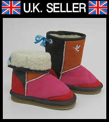 GIRLS FUR LINED WINTER BOOTS MULTICOLOUR BY CORTINA SIZE KIDS 9 12 13