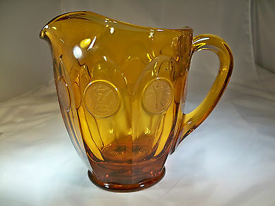 FOSTORIA COIN AMBER #1372/453 32-OUNCE FLAT PITCHER w/ORIGINAL LABEL!