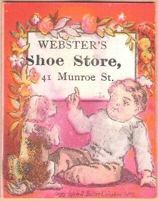 Tiny Victorian Trade Card-Webster's Boot & Shoe Store-Lynn, MA-Boy with Puppy